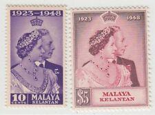 MALAYA KELANTAN  1948 ROYAL SILVER WEDDING SG 55/56  MNH PERFECT