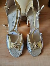 Chanel logo top accent & name in heels-38-Worn once to a wedding-one of a kind