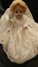 "Vintage 8"" Unmarked Doll Wearing Tagged Cosmopolitan Ginger Bride Gown & Veil"