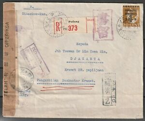 """Dutch Indies Japan Occupation PADANG censor + strip on """"R""""cover"""