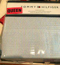 Tommy Hilfiger ITHACA STRIPE Blue & White QUEEN Sheet Set--NWT