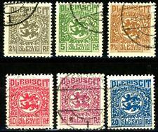 Germany 1920 Slesvig Plebiscit Set of 6 Postally Used Scott's 1 to 6  Mi1 to Mi6
