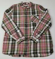 True Craft Women's Long Sleeve Button Up Shirt XL Multicolor Plaid Pocket Casual