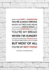 Don Williams - You're My Best Friend - Song Lyric Art Poster - A4 Size