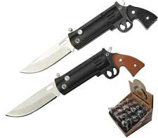 "2 REVOLVER PISTOL mini GUN 3"" FOLDING KNIFE W BALL CHAIN knives #473 keychain"