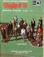 1982 (10/16) Football program, Kansas State Wildcats @ Nebraska Cornhuskers