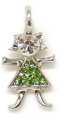* *  Birthstone Brats Child GIRL August SILVER charm - PERIDOT  *  *