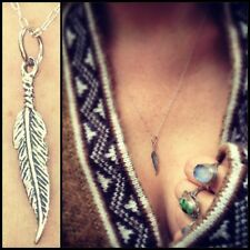 Feather Charm Necklace Sterling Silver Symbol of freedom, peace, & knowledge