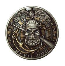 USMC DEVIL DOG Semper Fidelis Skull Marines Challenge Coin