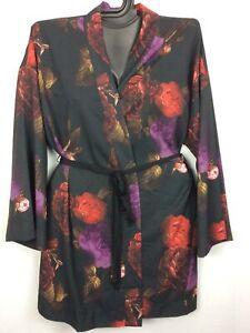 18/20 Plus Kimono Cacique Lane Bryant BLACK ROSES Polyester Knit NWOT