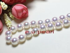 "AAAAA luster natural 18""10-11mm round REAL south sea white pearl necklace 14K"