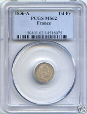 LOUIS PHILIPPE I (1830-1848) 1/4 FRANCS 1836 A PARIS PCGS MS62