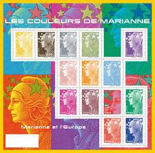 france ca 2009 definitive series marianne color europe ms 13v  mnh **