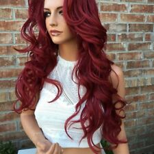 Red Long Wavy Hair Wigs Glueless Burgundy Lace Front Wig For White Women Cosplay