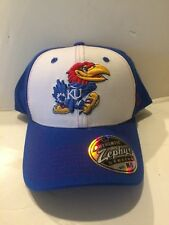 finest selection b2ff1 51440 Kansas Jayhawks Zephyr Bleacher Stretch fit hat M L Blue White