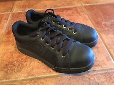 DR. DOC MARTENS BLACK LEATHER/CANVAS STEEL TOE INDUSTRIAL SHOES SIZE 11
