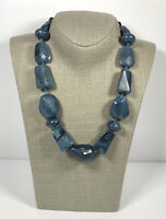 Vintage Necklace Chunky Blue Plastic Beads Individually knotted Graduated Style