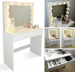 Wood Dressing Table Set Drawers Mirror Jewelry Makeup Desk Wood