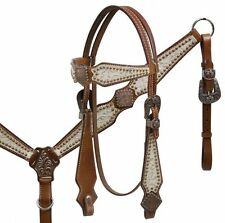 Showman ® Double Stiched Leather Silver Filigree Headstall and Breast Collar Set