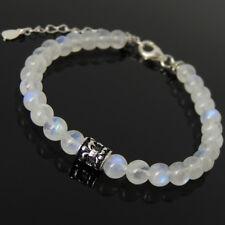 Men's Women Bracelet Moonstone 925 Sterling Silver Fleur de Lis Clasp Link 1296