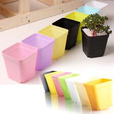 10X Mini Square Plastic Plant Flower Pot Garden Home Office Decor Planter
