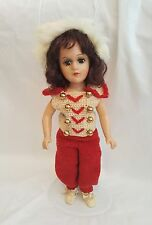 """Vintage 1950's Mary Hoyer Composition 14"""" Doll Handknitted Outfit w Fur Headband"""