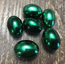 Vintage Old Green Metallic Coated Lucite Chubby Oval Mix Mardi Gras Bead Lot
