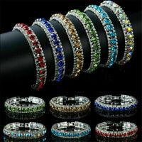 Crystal Rhinestone Bangle Wedding Bridal Wristband Bracelet Women Jewelry Gift