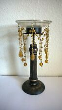 8 amber GLASS BEADED prisms RINGS BOBECHES CANDLE HOLDERS LAMPS SCONCES GLASS