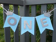 ONE Banner Bunting Garland - 1st birthday high chair banner decor, photo prop