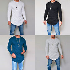 Fashion Mens Slim Fit Long Sleeve Casual T-shirt O Neck Solid Color Tops Tee
