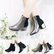 NEW WOMENS LADIES METALIC ANKLE BOOTS CHUNKY LOW MID BLOCK HEEL WORK SHOES SIZE
