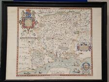 Map Of Hampshire by Christopher Saxton Framed in the 1960's by Taylowe Limited