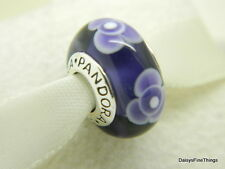 NEW! AUTHENTIC PANDORA MURANO GLASS PURPLE FLOWERS FOR YOU #790643 *RETIRED*  P