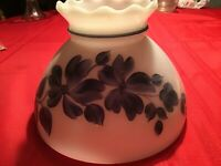 Vintage Lamp Shade White With Blue Flowers Crimped Top No Chips Or Cracks