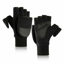 Winter Fleece Men's Gloves Double Layer Thicken Touch Screen Convertible Mittens