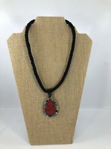 Black Seed Bead Necklace Wooden Clasp Mother Of Pearl Shell Inlaid Pendant Red