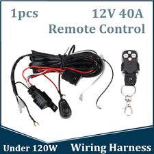 Remote Control Wiring Harness Strobe Switch Relay LED Fog Light Bar Kit 12V 40A