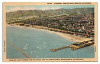 General View Santa Monica, CA Yacht Harbor, Palisades & Mountains Postcard *5E1