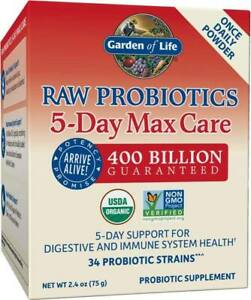 Raw Probiotics 5-Day Max Care by Garden of Life, 2.4 oz powder