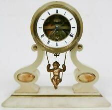 Beautiful Quality Antique French Farcot Swinging Cherub Alabaster Mantle Clock