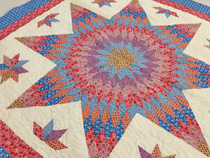 Pastel Lone Star, w/ Stars Patchwork FINISHED QUILT - Queen size - Fine Quilting