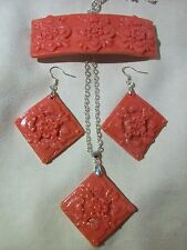 PINK CORAL COLOR HAIR CLIP EARRINGS PENDANT NECKLACE SET