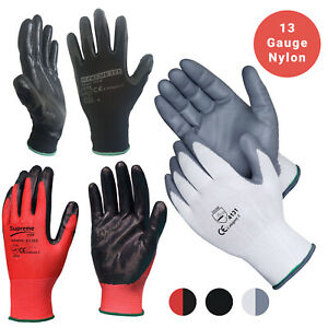 240 Pairs Nitrile Coated CONSTRUCTION GLOVES Nylon Safety Work Builders Grip New