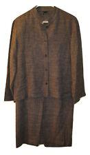 Eileen Fisher Womens Banded Collar Skirt Jacket 2 pc Suit set Linen M Medium