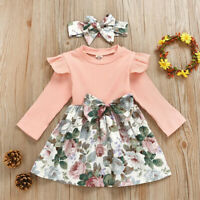 2Pcs Toddler Infant Baby Girls Kid Floral Dresses Princess Dress Outfits Clothes