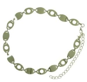 Style & Co. Chain Belt Link Adjustable Nickle Silver Retro Punk Rock M/L New NWT