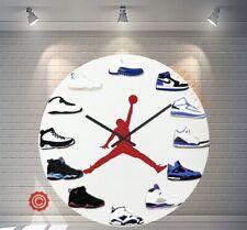 "New 12"" Clock Jordan 1-12 Blue 2D Quartz nike supreme off white yeezy sneakers"