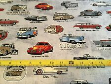 Robert Kaufman  Fabric. Old Guys Rule, antique cars, vntage BY the Half Yard