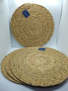 """4 Woven Wicker Straw Raffia Placemat, 14"""" Round Placemats  WN053"""